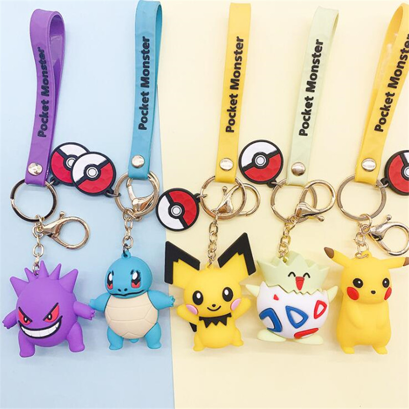 Anime Pokemon Monsters Key Chain Pikachu Gengar Squirtle Cosplay Accessories Toy Pendant Cartoon Cute Silica Gel Creative Gift