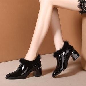 Image 5 - ALLBITEFO heißer verkauf echtem leder hohe ferse schuhe einfache stil Reine farbe frauen heels Elegante Herbst Winter high heels