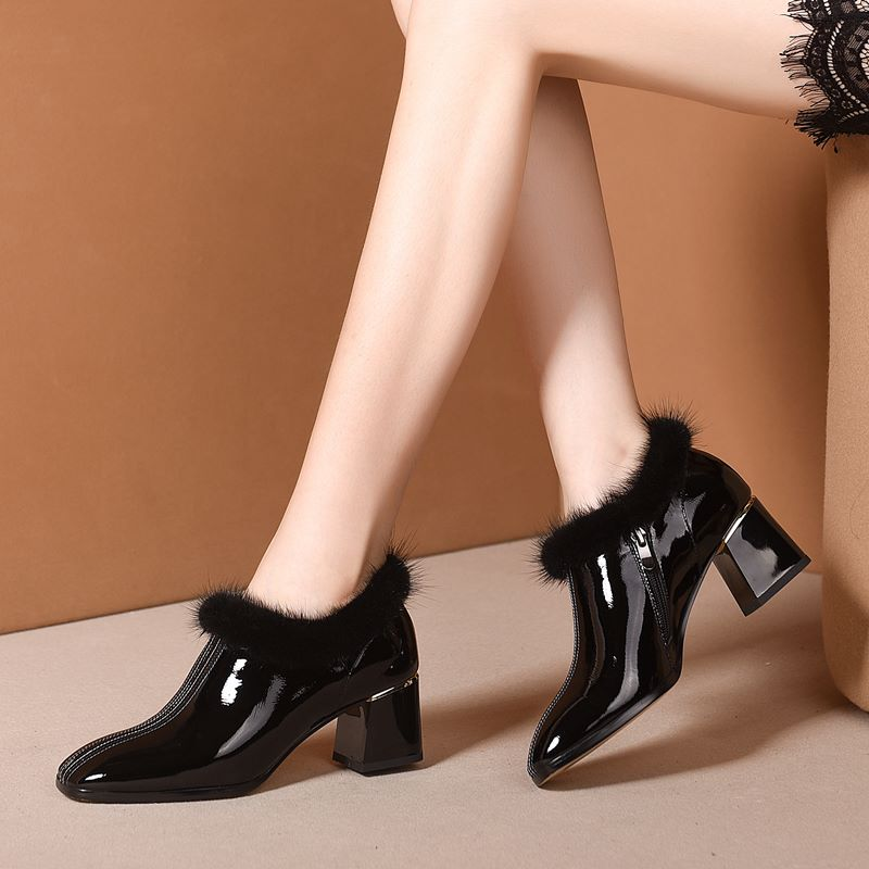 Image 5 - ALLBITEFO hot sale genuine leather high heel shoes simple style  Pure color women heels Elegant Autumn Winter high heelsWomens Pumps