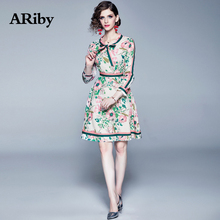 ARiby Women Long Sleeve Printed Slim Dress 2019 New Early Autumn Fashion Office Lady Lace Bow O-Neck A-Line Mini Dresses