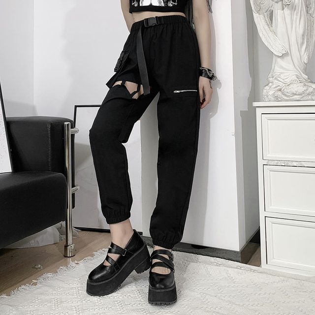 Goth cargo pants with hollow out design