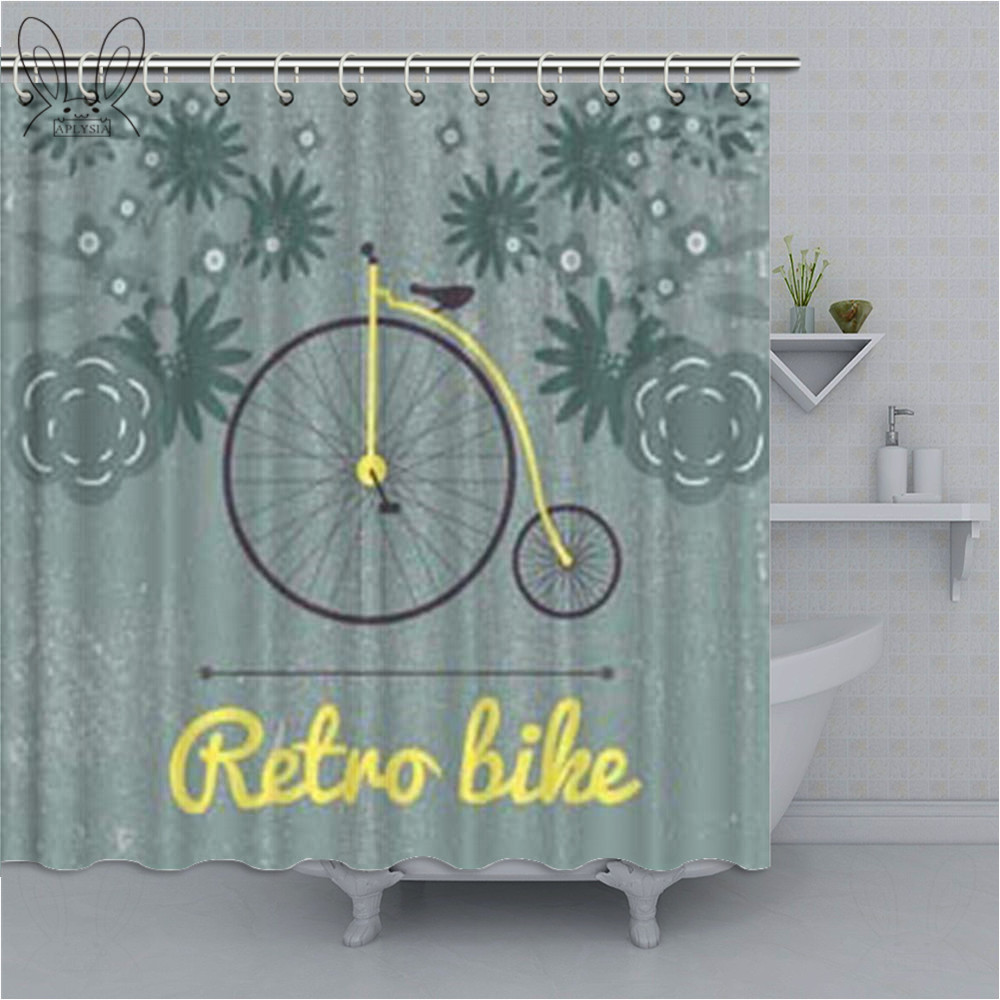 Creative Bike Pattern Green Shower Curtain Bath Rugs Waterproof Polyester Fabric