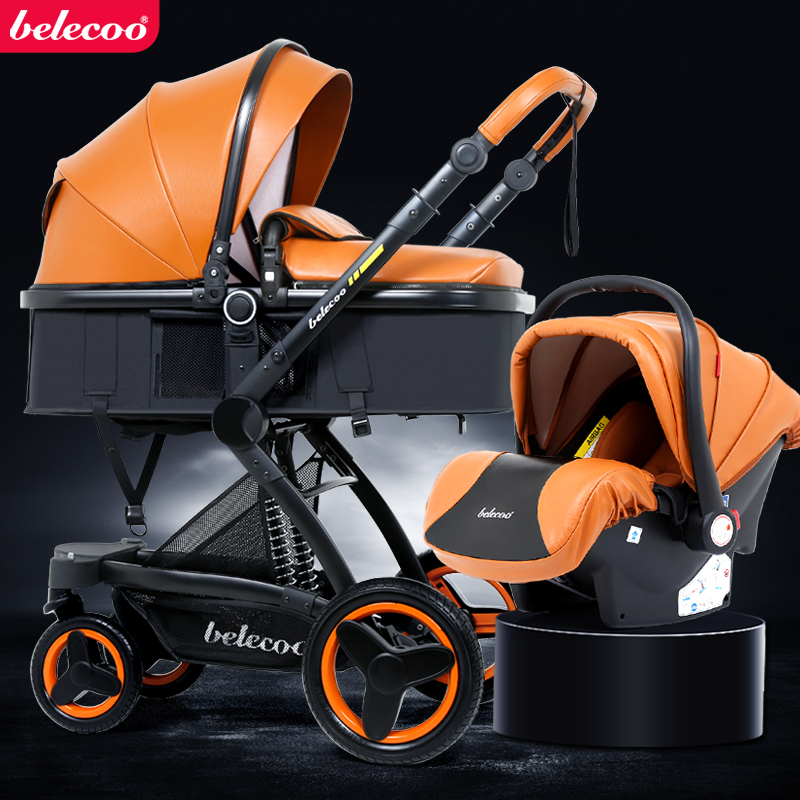 Belecoo Baby Stroller Newborn 3 In 1  High-view Carriage With Car Seat Parm Shock Absorber Folding Two-way Baby Carriage