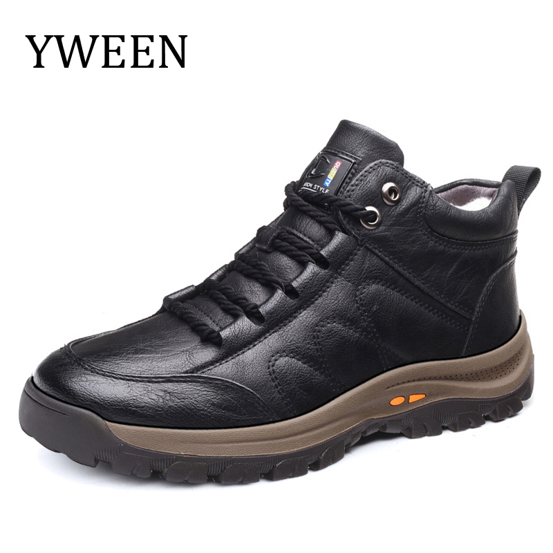 YWEEN Men Leather Boots Wool Fur Thick Composite Sole Winter Shoes Men Cowhide Leather Designer  Outdoors Ankle Boots For Man