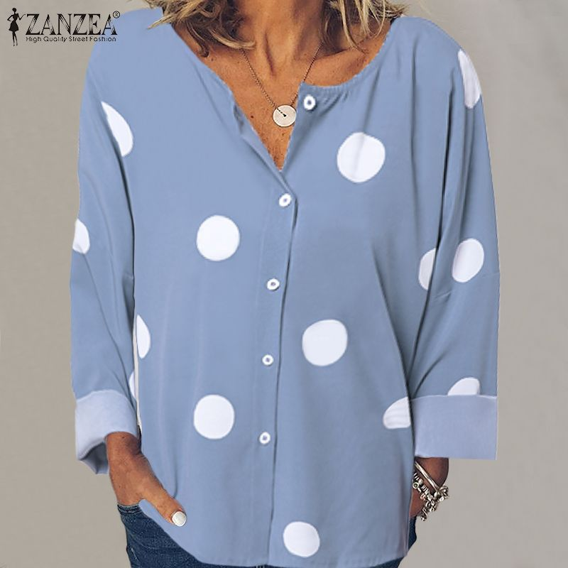 ZANZEA 2020 Autumn Women Blouses Shirts Ladies Bohemian Tops Blusas Vintage Polka Dot Print Long Sleeve Tunic Work Chic Chemise