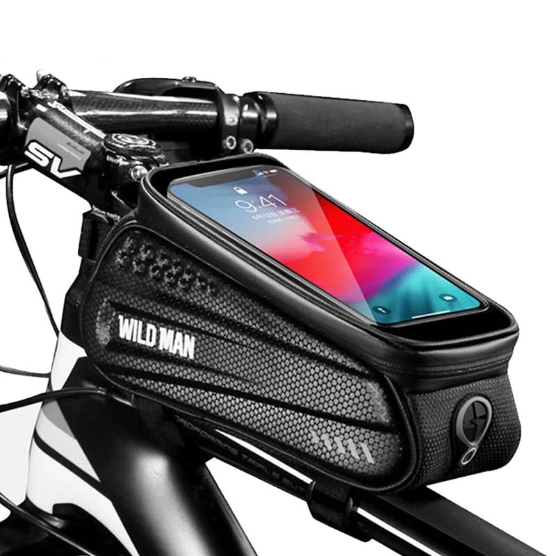 Waterproof MTB Bike Frame Front Bag Pannier Bicycle Cycling Mobile Phone Holder