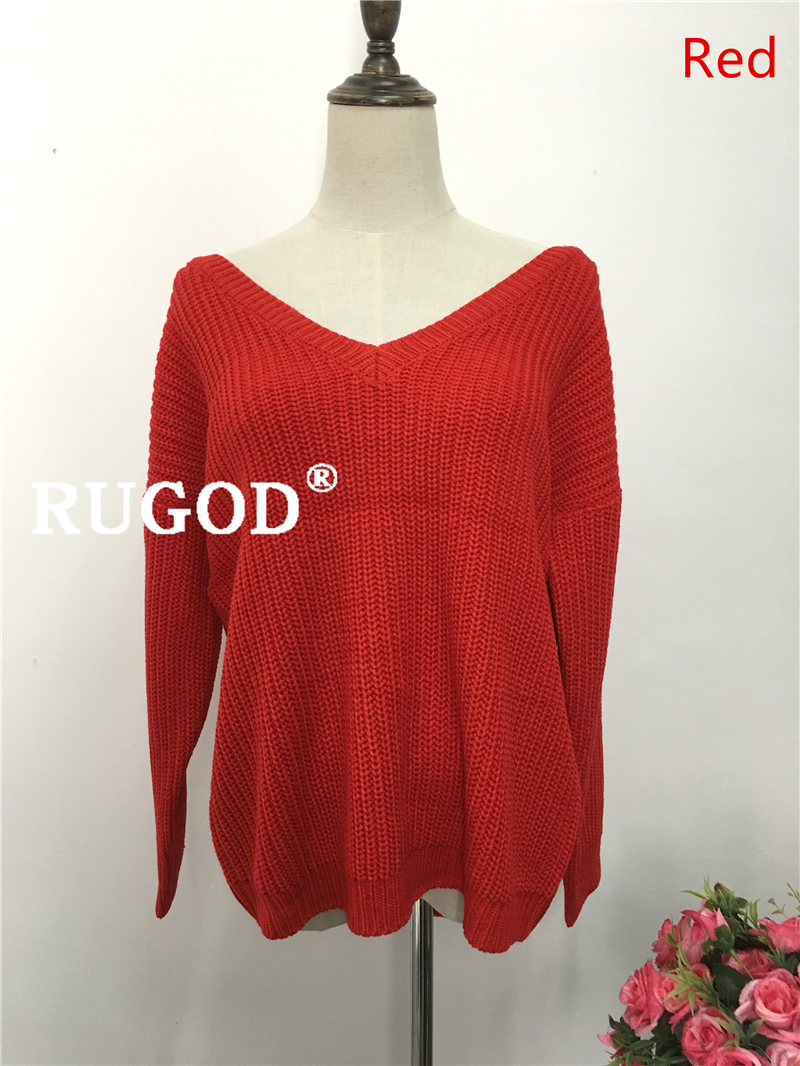 Rugod 19 New Sexy Backless V-neck Sweater Women Pullover Autumn Winter Casual Knitted Sweater Femme Tricot Pullover Jumpers 9