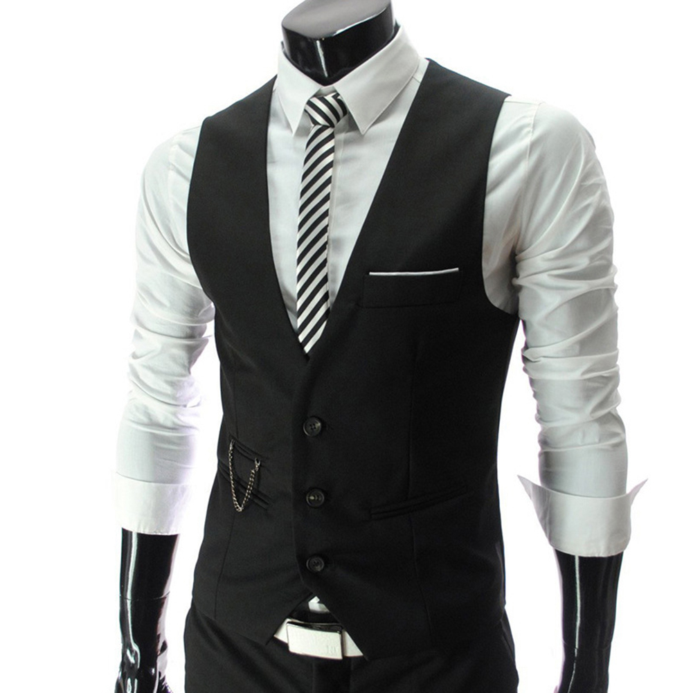 H58a30b69fa6542aab956d45778e9f056P - 2020 New Arrival Casual Sleeveless Formal Business Jacket Dress Vests For Men Slim Fits Mens Suit Vest Male Waistcoat Homme