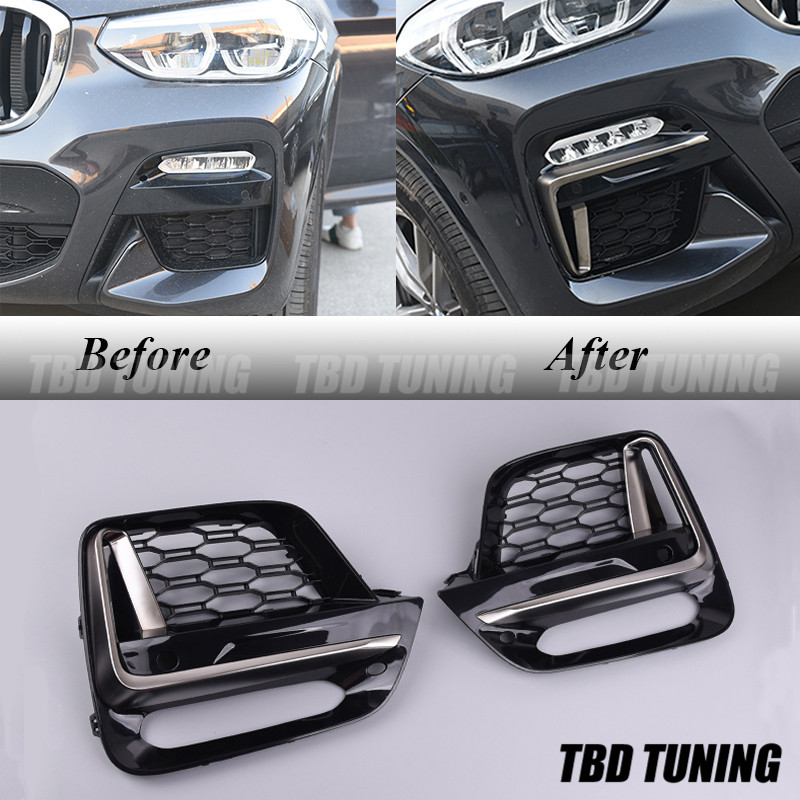 For BMW X3 G01 / X4 G02 Front Fog Light Cover Grille Trim Accessories Look Like MSport Grille Style 2018 2019 2020 X3 X4 G01/02