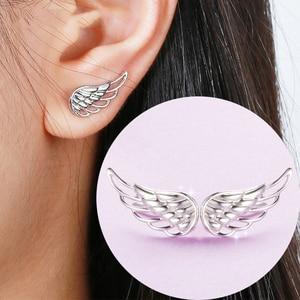 Image 1 - Strollgirl Genuine 925 Sterling Silver Earrings 2020 Hollow Feather Fairy Wings Stud Earrings for Women Fashion Jewelry Gifts