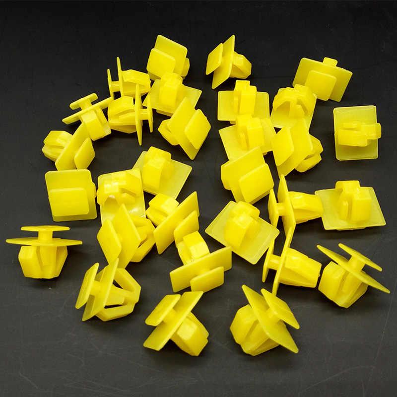 مشابك نايلون مشابك السيارات البلاستيك الأصفر الوفير الحاجز التجنيب دفع برشام تقليم لشركة هيونداي 87758-35000 سانتا