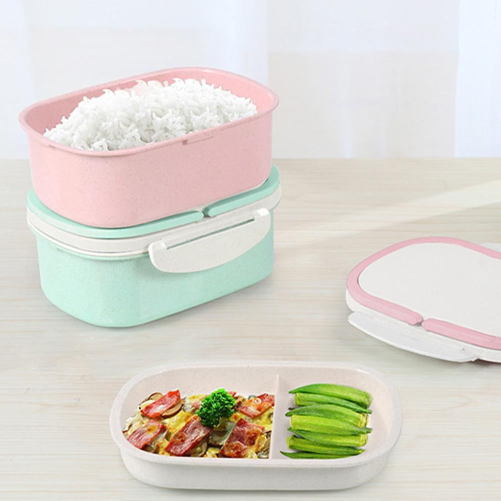 Hot Sale Double Layer Wheat Straw Large Capacity Bento Lunch Box Food Storage Container