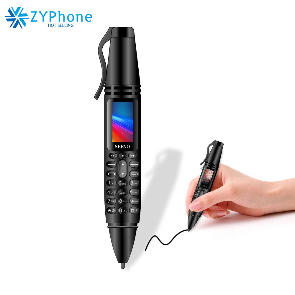 SERVO K07 0.96inch Tiny Screen Pen mini Mobile phone Dual SIM Card Bluetooth Dialer Cellphone with Flashlight Recording Pen