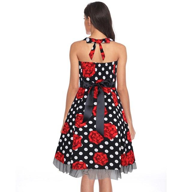 OTEN 4XL Vestido De fiesta mujer imprimir Swing cráneo Floral De encaje Patchwork punto retro vintage Rockabilly Vestido ropa De verano 1
