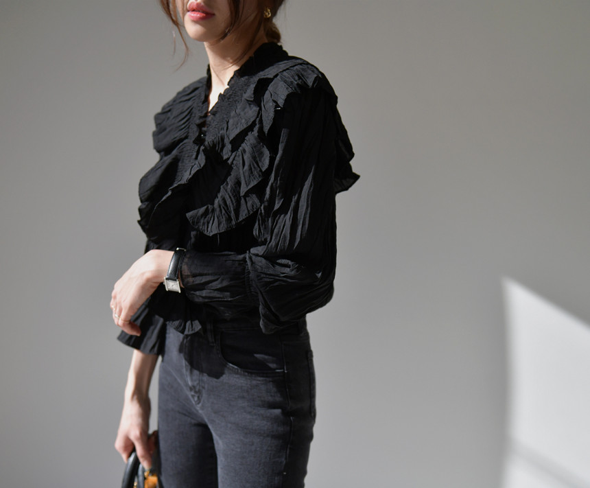 H58a34fe53c6d4264824ade467a9a2d89s - Spring / Autumn V-Neck Long Sleeves Ruffles Pleated Solid Blouse