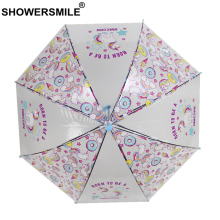 SHOWERSMILE Unicorn Children Long Handle Transparent Umbrella Clear See Through Pink Hanging Kids Parapluie