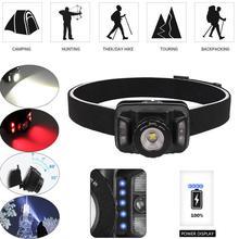 Новый мощный налобный фонарь перезаряжаемый светодиодный светильник на голову датчик движения тела Головной фонарь для кемпинга
