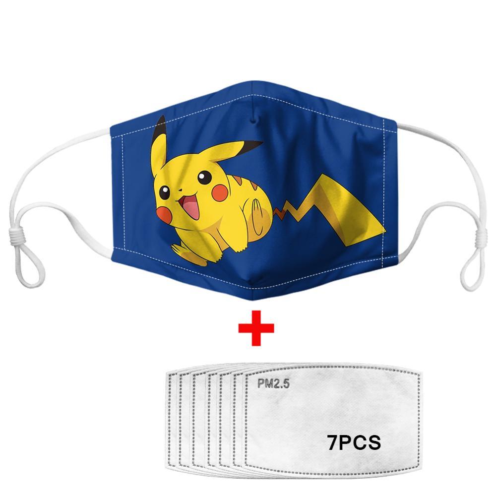 7Pcs PM2.5 Filter Gas Masks Pokemon Pikachu Women Anti-dust Masks Fashion Washable Reusable Face Mask Non-disposable Moth Mask