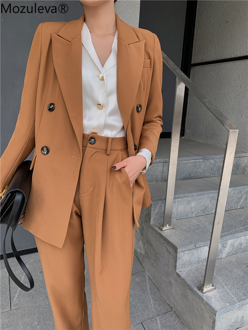 2020 Spring Office Two-piece Blazer Pant Suit Fashion Solid Women Blazer Suits Long Sleeve Double Breasted Blazer Pants Set