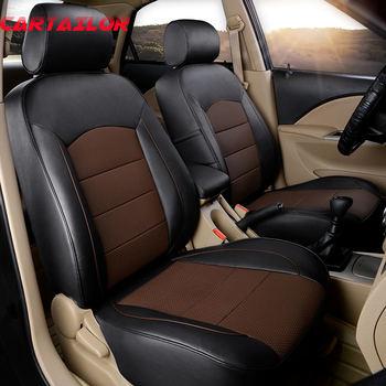 CARTAILOR Custom Genuine Leather Car Seat Cover for Nissan Fuga Seat Covers Cars Seats Protector Accessories & Side Airbag Sets image