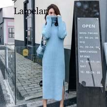 Осенне зимнее женское модное платье свитер с воротником хомутом