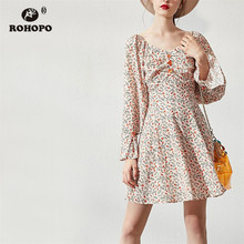 ROHOPO Long Sleeve Off Shoulder Draped Top Buttons Printed Floral Pink Dress Pleated Hem Preppy Girl Chic Vestido #8953