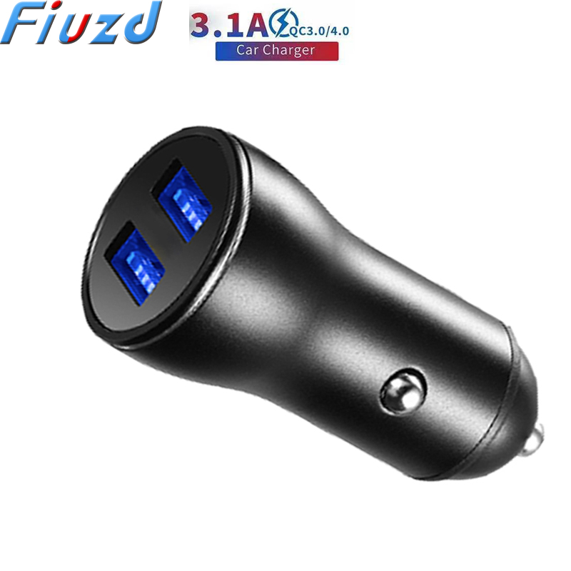 Fiuzd Universal Metal 3.1A Dual USB Car Charger For Baseus Fast Phone Charger For IPhone For Ugreen