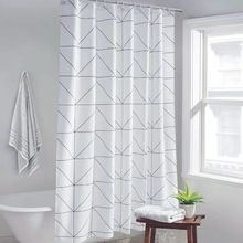 Fashion White Grid Print Blinds Curtains For Bathroom Variety Size Polyester Bath Curtain  Waterproof Shower Curtains Home Decor