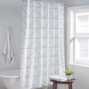 Image 1 - Fashion White Grid Print Blinds Curtains For Bathroom Variety Size Polyester Bath Curtain  Waterproof Shower Curtains Home Decor