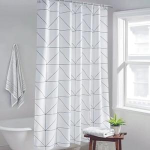 Image 1 - Mode Weiß Grid Print Jalousien Vorhänge Für Bad Vielzahl Größe Polyester Bad Vorhang Wasserdicht Dusche Vorhänge Wohnkultur