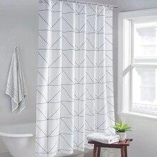 Rideaux rideaux imprimés blancs à grille, pour salle de bain, rideau de bain en Polyester, pour décoration de maison, imperméable