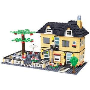 Image 5 - مدينة العمارة الفرنسية فيلا كوخ نموذج تجميع الطوب اللبنات عدة DIY بها بنفسك هدايا التعليم