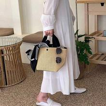 NEW Capacity Straw Bags Women Handmade Woven Basket Tote Bohemian Handbags Summer Luxury Beach Bolsa canvas Bags Lady Brand Q7B4