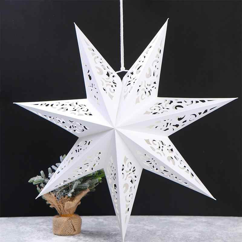 45cm Hollow Out Star Christmas Tree Hanging Pendant Party Light Window Grille Home Bedroom Night Light Garden Hanging Decoration