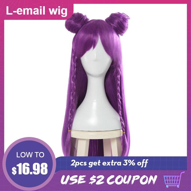 L-e-mail peruca jogo lol k/da kaisa cosplay perucas longo roxo kda cosplay peruca com pães dia das bruxas resistente ao calor do cabelo sintético