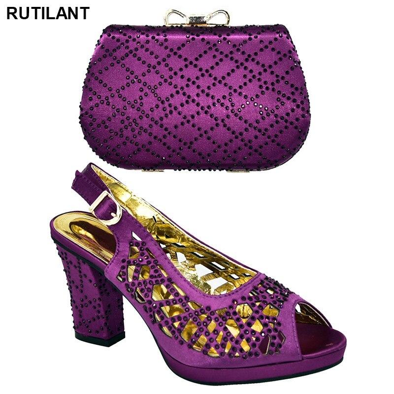 Nouveau femmes chaussures et sacs à assortir ensemble italie chaussure et sac pour le Nigeria parti élégant Designer chaussures femmes luxe 2019 talon carré