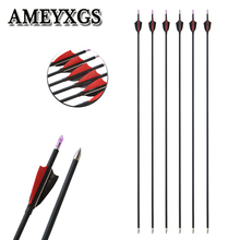 6/12pcs Archery Spine1000 Mixed Carbon Arrow Compound Bow Recurve Bow 100gr Arrowhead Hunting Shooting Bow And Arrow Accessories 6 12pcs bamboo arrow 5inch turkey feather archery od 8mm compound bow recurve bow outdoor hunting shooting accessories