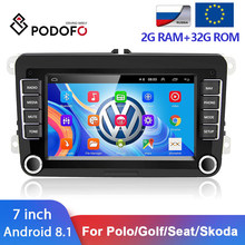 Podofo Android 8,1 2Din Auto Multimedia-Player Für VW/Golf/Polo/Tiguan/Passat/SITZ/leon/Skoda/Octavia/Jetta 2 DIN GPS WIFI Radio