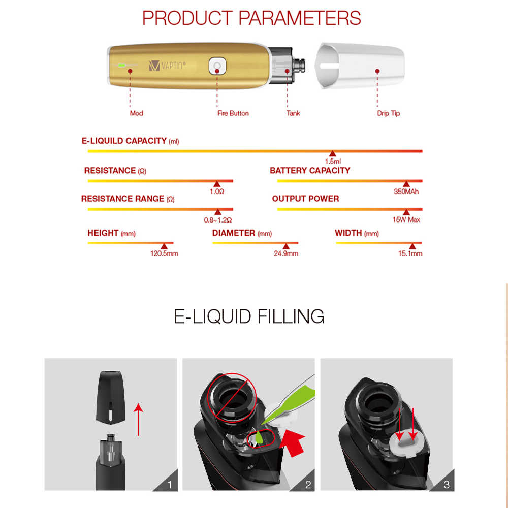 Электронная сигарета, оригинал, Vaptio, C-Flat, 15 Вт, набор VAPE с 1,5 мл, 350 Ом, атомайзер, мА/ч, батарея, vape pod, комплект ecig