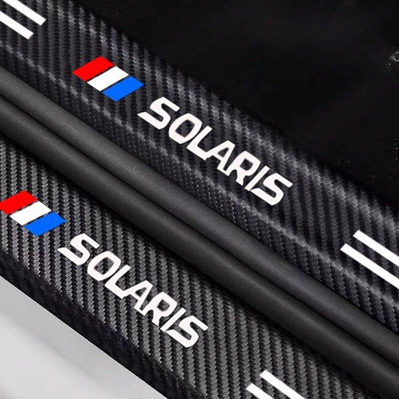 Hyundai Solaris порог машины ленты стикер автомобиля украшения Защитная крышка дверца батарейного углеродное волокно из кожи с натуральным лицев...