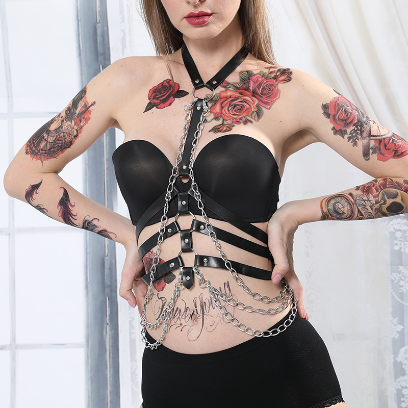 CEA.HARNESS Bra-Belts Chain Garters Sexy Lingerie Body-Bondage-Caged Gothic Bra Punk-Style
