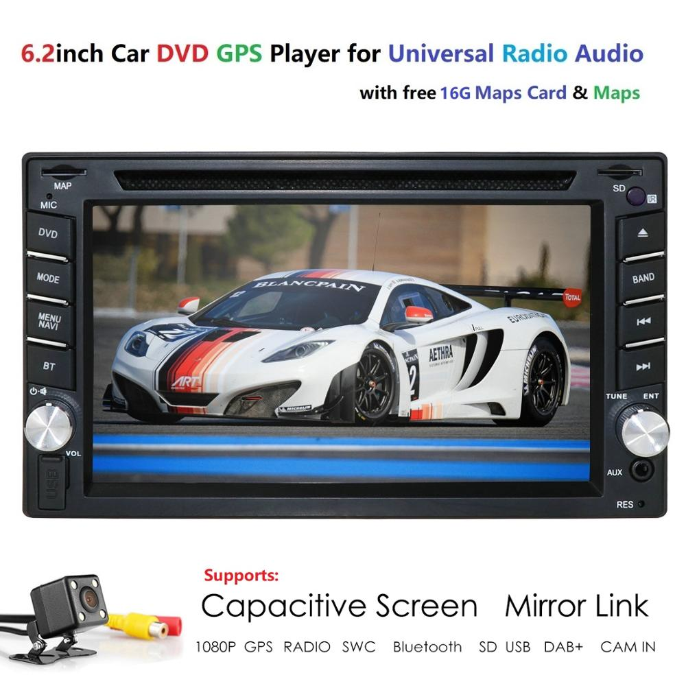 Auto Radio <font><b>6.2</b></font> <font><b>Inch</b></font> <font><b>2DIN</b></font> Universal Car DVD player <font><b>GPS</b></font> Stereo Audio Head unit Support DAB RDS SWC BT MAP CAMERA Car Multimedia SD image