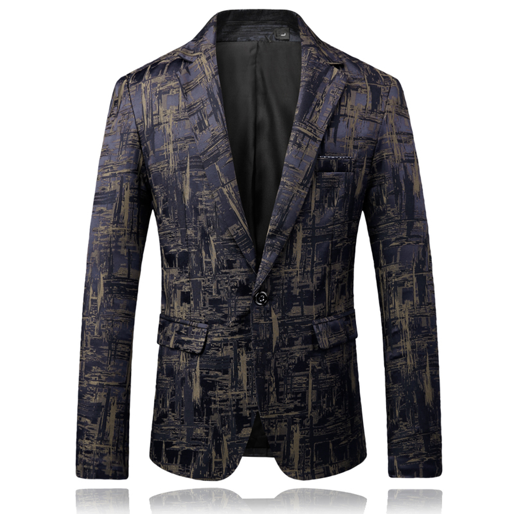2018 New Men's Fashion Boutique Printing Wedding Blazer Male High-end Brand Business Casual Single Buckle Suit Jacket Coats