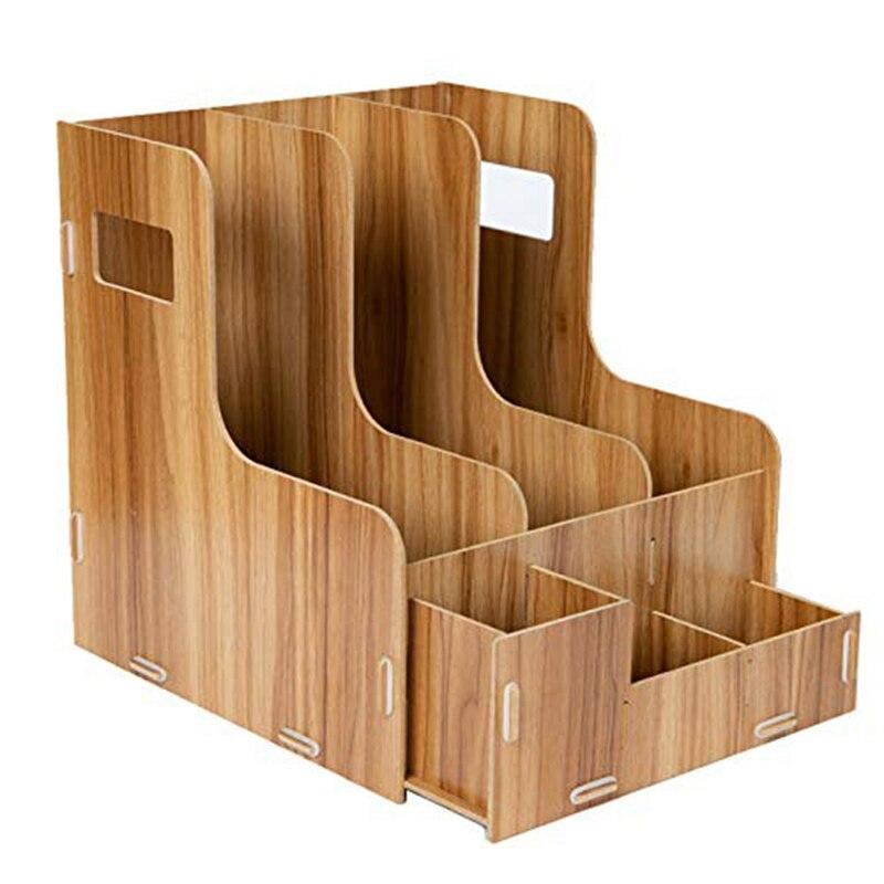 Wooden Desk Top Tidy Office Stationery Organizer Office Supplies Rack Home Desk Organizer Holder