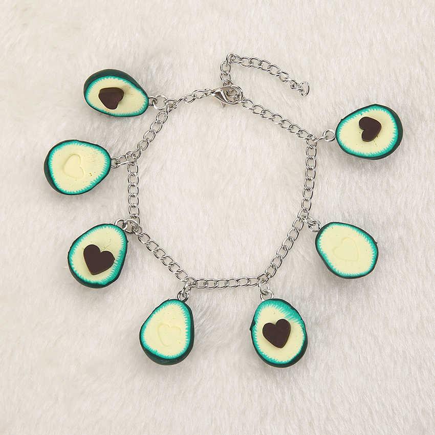 1pc Bonito argila Do Polímero colar de imitação sobremesa de frutas Abacate para crianças Presente de Aniversário de Jóias Mulher