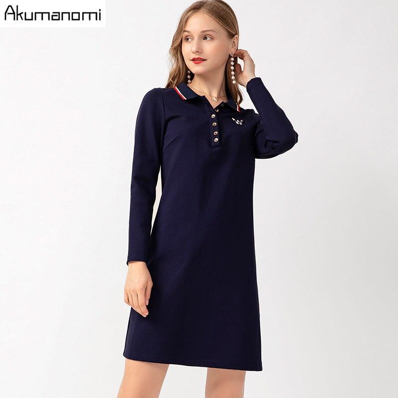 Automne Robe femmes grande taille 5xl-l décontracté bleu col rabattu manches complètes printemps bureau fête Robe Vestidos Jurk Robe shein