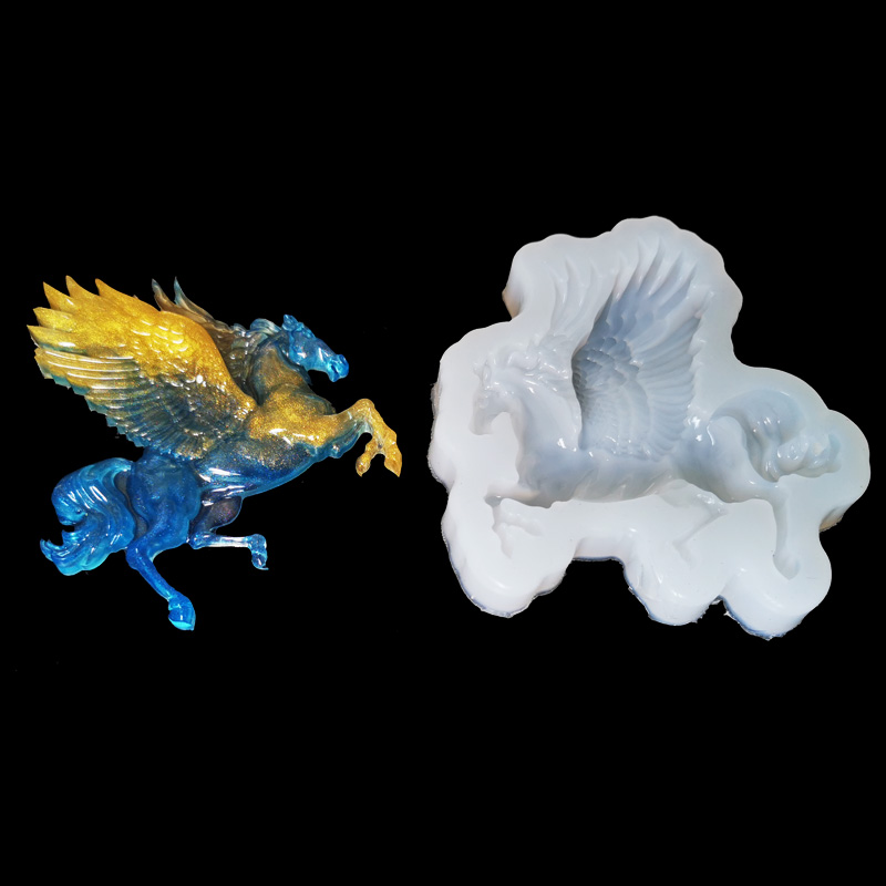 Silicone Mold for jewelry Pegasus Horse with wing charms pendant Resin Silicone Mould handmade making tool epoxy resin molds