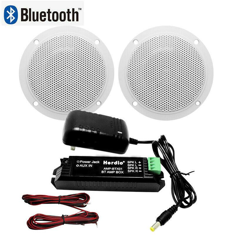 Herdio banheiro/cozinha caixa de amplificador sem fio Bluetooth X 4 polegada Marinha Do Bluetooth alto-falantes De Teto com adaptador AC/DC (branco)