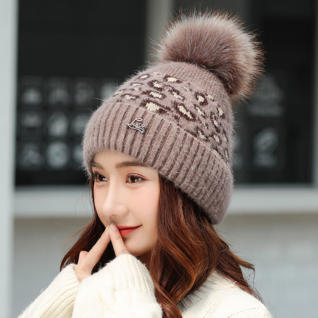 New Women's Hat Winter Leopard Beanie Knitted Hat Angola Rabbit Fur Bonnet Girl 's Hat Fall Female Cap With Fur Pom Pom