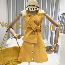 2019 Women Designer Dresses Spaghetti Strap Beach Style Solid A-Line Above Knee, Mini Korean Fashion Yellow White dress